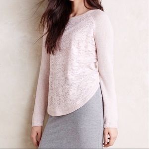 Anthro knitted & knotted sweater lace floral pink